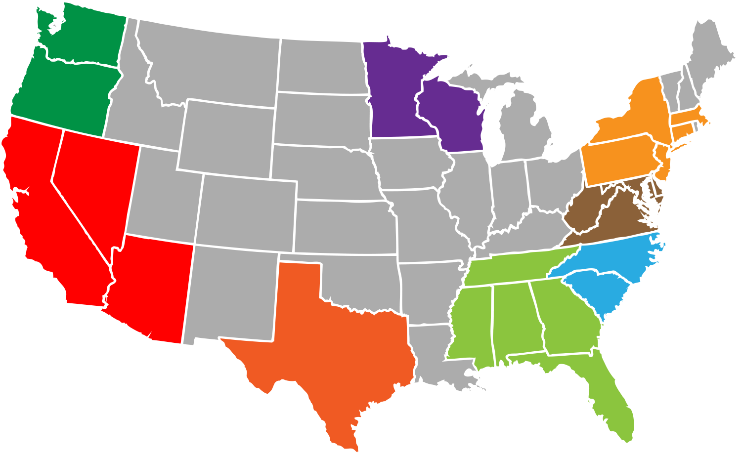 U.S. regions served by RoadStallion